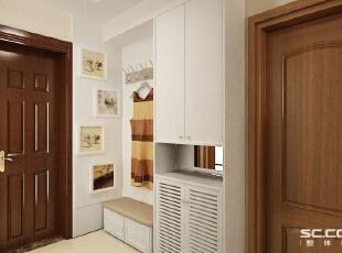 玄关设计: 线条干净利索,充分体现现代简约风格的元素,从入户门开始对整个户型进行定义。造型与其他空间做划分。,96平,7万,现代,两居,