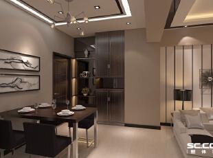 餐桌椅设计: 整个空间造型主要以顶面为主。客厅吊顶造型与餐厅顶面造型相辅相成,都以直线型为主,使空间达到一种整体性,餐厅顶面灯饰增加了餐厅吊顶的设计感,使整个空间更有层次感。,119平,10万,简约,三居,