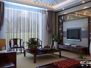 客厅设计: 电视背景墙青石砖、壁纸,相互融合,既是有装饰的美感,又容易打理,加之茶色背漆玻璃和马赛克的映衬,将代表现代的一个时代的元素融合其中,新颖却不失稳重。,146平,12万,中式,三居,