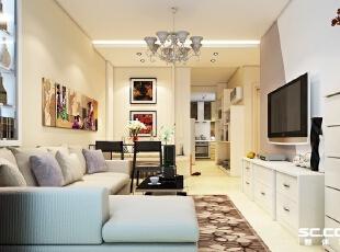 厨房设计: 透过家具的摆设,增加了人与人之间的连结。沙发后的酒柜巧妙的分割了休闲空间和客厅的区域,除此之外,一系列的墙上装饰画,及高低错落的绿叶盆栽,延伸到家中的每个角落,让整个空间达成一致性,透出一种温润质朴的气息,是不是很像去屋主家做客?,73平,6万,简约,两居,