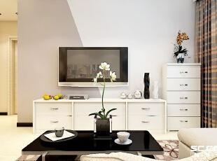 设计: 电视背景墙采用两种不同颜色墙漆进行了强烈的对比,让整个空间显得非常有现代感,特别之处在于空间无处不在的小细节装饰,细节的呈现让单调的空间处处都有惊喜。,73平,6万,简约,两居,