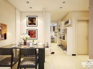 餐桌椅设计: 对于小户型而言。有个独立餐厅都是奢侈,一步小心就让整个空间变得拥挤。餐厅吊顶层次分明,墙面整体大面积使用浅色墙漆,舍弃了中规中矩的餐厅设计,选择轻巧不占空间的卡座设计,节省空间的同时,还将角落利用起来。,73平,6万,简约,两居,