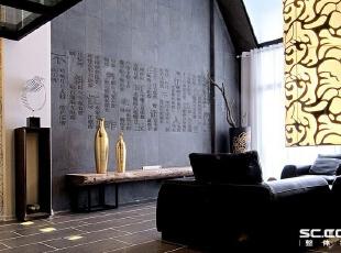 """客厅设计: 看不见水却从细节中品味着对水的感情,一首""""春江花月夜""""的诗词通过人工打造在花岗岩上,对中国古典文化的诠释如此的契合女主人的心情。,196平,17万,中式,Loft,"""