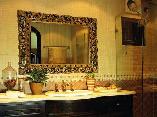 卫生间设计: 整体色调柔和,整体打造统一欧式的风格。背景瓷砖深浅划分明确。整体风格统计一、简单。,200平,25万,欧式,别墅,