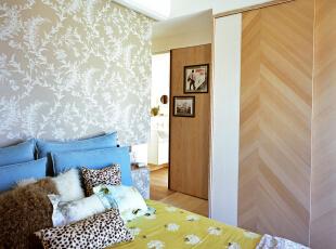 ,100平,7万,三居,现代,卧室,黄色,