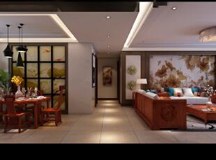,220平,20万,中式,四居,现代,简约,原木色,餐厅,客厅,玄关,