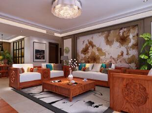 ,220平,20万,中式,四居,客厅,简约,现代,原木色,