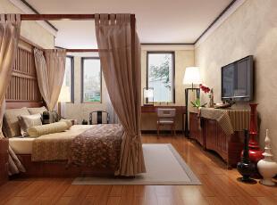,220平,20万,中式,四居,卧室,简约,现代,原木色,