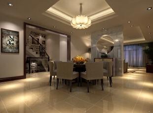 餐厅是进入房间后的第一个房间,因此餐厅的设计奠定了设计的整体效果。在这张别墅效果图中,设计师以简洁的方式演绎高品质室内设计的新思想,更多的使用织物、壁纸、玻璃、大理石等材料,在中式风格中展现出简洁、时尚的一面。,133平,60万,中式,别墅,餐厅,白色,