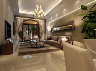 地下起居室是整个别墅空间中中式元素最多的空间。窗纱、孔型门洞、圈式茶几等诠释了中式元素的精髓,保留了材质、色彩的大致风格,强烈反映出到浓郁的东方之美。,133平,60万,中式,别墅,客厅,黄白,