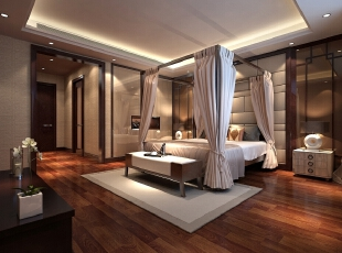 """主卧在总体布局中极力强调轴线对称,架子床和窗幔的使用构建了一个小型的封闭空间,拉开与闭合形成了不同的空间效果,形成了""""移步换景""""的效果。,133平,60万,中式,别墅,卧室,灰白,"""