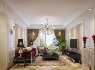 ,95平,14万,美式,三居,客厅,白色,