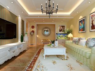 客厅 20平欧式田园 设计理念:经典的白色家具与团花布艺相配,加之吊顶与灯饰相配,使空间明亮。亮点:三段式的欧式电视背景墙,用石膏造型坚实和壁纸的柔美相结合,92平,7万,田园,两居,