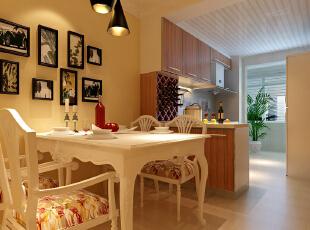 橱餐厅 时尚的敞开式厨房 设计理念:打破传统的中式厨房,是餐区和厨房狭小的空间,融为一体,更加宽敞明亮。亮点:敞开式厨房的设计使空间完美统一,氛围即和谐又时尚,92平,7万,田园,两居,