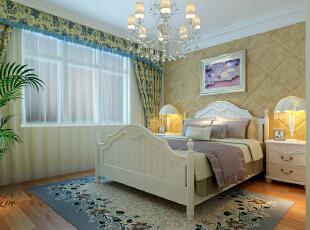 主卧室 些许奢华 设计理念:软包床头背景和碎花窗帘的搭配打造些许奢华。,92平,7万,田园,两居,