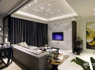 ,131平,15万,现代,三居,客厅,黑白,