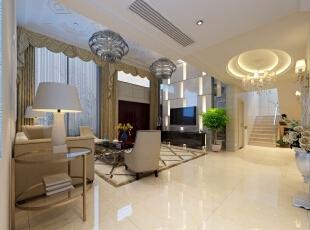 ,360平,50万,现代,别墅,客厅,灰白,