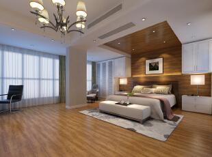 ,360平,50万,现代,别墅,卧室,原木色,白色,