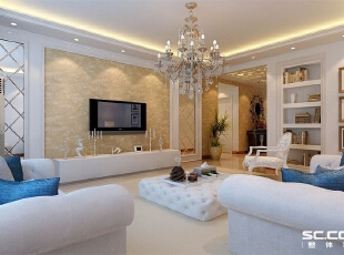 客厅设计: 客厅采用菱形镜面玻璃,使空间看上去大气、平稳,延展性更好。,128平,10万,欧式,三居,