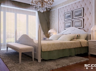 卧室设计: 卧室是休息的空间,所以在卧室的背景墙采用了软包的设计,让人看上去很舒服,给人很温馨的感觉。,128平,10万,欧式,三居,