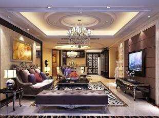 ,180平,30万,新古典,四居,客厅,黑白,
