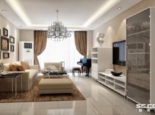 客厅设计: 客厅整体简单大方,墙面用了淡淡的涂料顶面白色让空间更柔和一些,顶面四周做了射灯吊顶。,98平,7万,现代,三居,