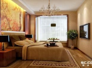 卧室设计: 主卧室整个贴了暖色壁纸,床头贴的风景画面使人心情愉快,床头两边做了对称的木装饰体现出主人的高雅和稳重,床头局部吊顶让空间更有层次感。,98平,7万,现代,三居,