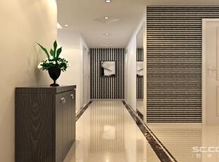 玄关设计: 光影流转之玄关:室内大面积采用高度反光的淡黄色地砖,墙壁也是由带清浅石纹的大理石砖铺成,在光线的作用下愈加清透,整体给人的感觉淡雅而清新。,120平,10万,现代,三居,