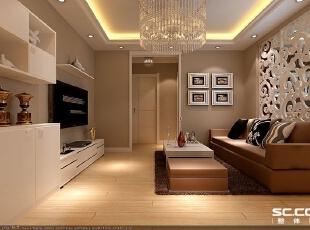 客厅设计: 客厅用天花吊顶和雕花隔断对空间区域进行了划分,雕花隔断选用白色,在这个以暖色为主调的客厅里显得清新浪漫。浅咖色墙面涂料,配合顶照的弧形灯光,璀璨别致。,72平,6万,现代,一居,