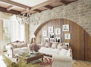 ,86平,5万,美式,两居,客厅,原木色,