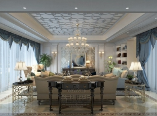 """""""精致生活""""贯穿于整套杭州别墅装修设计始末,以美式风格为参照,融合古典情怀与现代设计美学,把宽敞的空间修饰成典雅、舒适、大气的尊贵府邸,将大胆直率、追求本色、热爱自由的性格沉淀到生活中的每个角落。,360平,50万,美式,别墅,客厅,"""