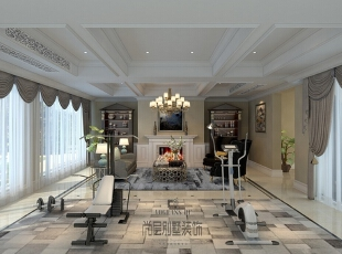 杭州别墅装修设计保留了别墅原有的错落格局,只是在融合现代生活的空间中加以处理,既保留了原建筑的优点和动线,又有独立空间所营造出的美感,更能满足生活功能的要求。,360平,50万,美式,别墅,
