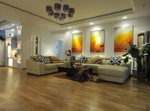 ,128平,9万,现代,三居,客厅,黄白,