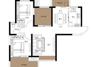 天骄华庭89平方三室两厅简约美式风格装修案例——平面布局图,89平,美式,三居,