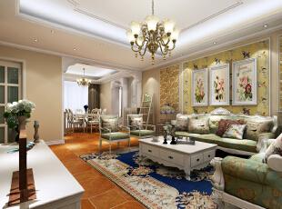 ,115平,12万,美式,三居,客厅,春色,