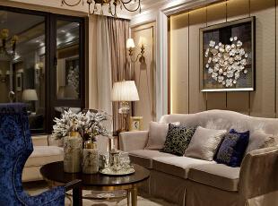 ,130平,90万,现代,公寓,客厅,黄白,