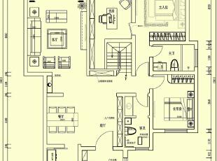 林溪湾简欧风格243平下沉式两层一楼平面布局图,243平,16万,欧式,复式,