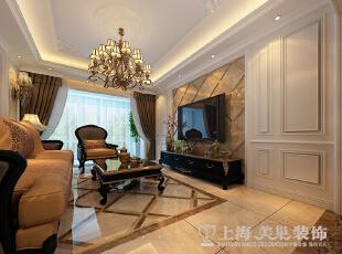 林溪湾复式243平简欧风格电视背景墙装修效果图,243平,16万,欧式,复式,客厅,