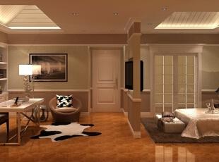这是设计师设计的次卧室,色系不同于一层的金碧辉煌,以奶白色为主,更适于休息、学习。吊顶也设计成阁楼样式,更具田园风格。,345平,85万,简约,别墅,书房,黄色,
