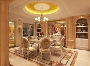 餐厅以碎花装饰为主,局部加入金色壁纸,米黄色的大理石以及艺术玻璃使空间典雅而富丽。,345平,85万,简约,别墅,餐厅,米黄色,