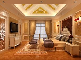 在这套别墅设计案例中,三层的设计与一层类似。客卧沿袭一层的奢华设计,地毯、皮质软包、金色装饰随处可见,为客人带来奢华的享受,满足业主的展示需求。,345平,85万,简约,别墅,卧室,黄色,