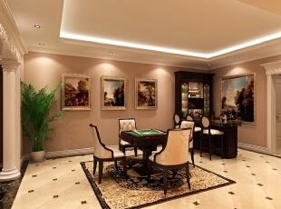 棋牌室是由原本的设备间改造而成,因此在设计的同时注重安全性和实用性,同时减少较多的装饰,简单、实用。,345平,85万,简约,别墅,棋牌室,黄色,
