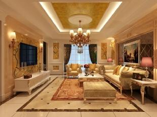 与餐厅处于同一空间的客厅也以装饰为主,简化的欧式别墅装饰加入进行效果,再结合同色系中式壁画,简单而富有空间感。,345平,85万,简约,别墅,客厅,黄色,
