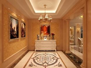 门厅使用镜面、壁纸与柱子的构图表现出鲜明的欧式古典风格,墙壁悬挂欧洲风情油画表明业主的个人喜好和旅游经历。,345平,85万,简约,别墅,客厅,黄色,