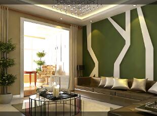 ,70平,3万,简约,两居,客厅,白色,绿色,