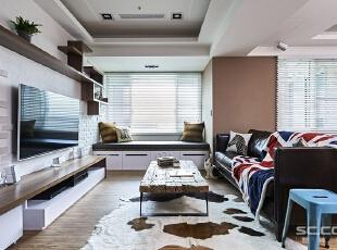 ,122平,15万,清新,三居,客厅,棕色,白色,