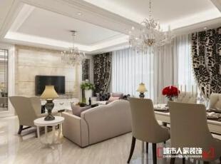 西安城市人家装饰公司│天朗御湖142㎡混搭风格打造属于自己的维多利亚,142平,5万,混搭,三居,客厅,白色,