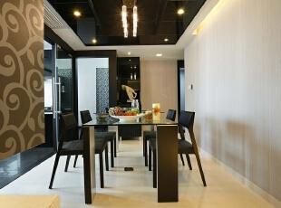 餐厅:整个空间纯白简单,可以让业主享受生活的快乐,519平,30万,现代,别墅,餐厅,黑白,