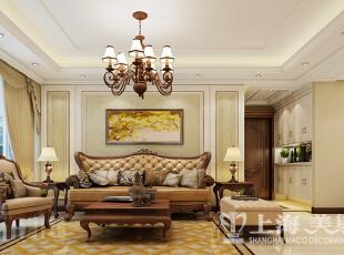天骄华庭138平三室两厅简欧风格装修方案——客厅装修效果图,138平,7万,欧式,三居,客厅,黄白,