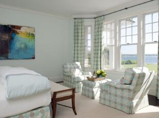 """地中海风格特点的灵魂是—""""蔚蓝色的浪漫情怀,海天一色、艳阳高照的纯美自然""""。,95平,11万,地中海,两居,卧室,白蓝,"""
